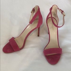 Nine West pink suede heels with ankle strap